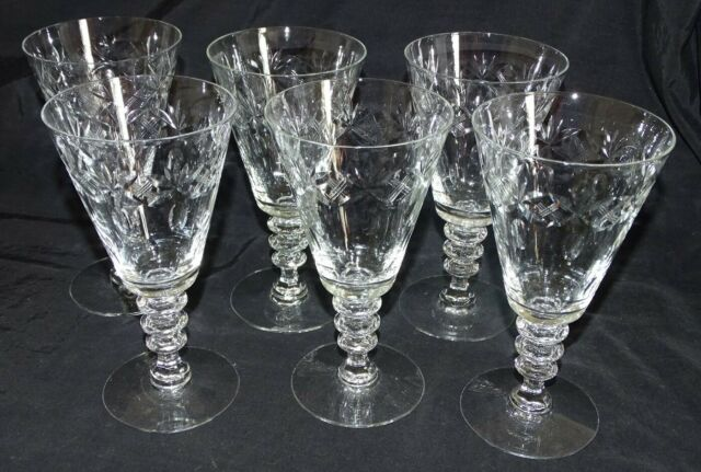 Set of 6 Cut Glass Water Goblets 6 5/8