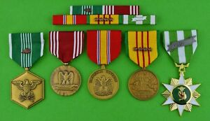 5-Vietnam-War-Army-Medals-amp-Ribbon-Bar-Commendation-Good-Conduct-4-Stars