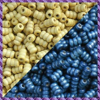Bleu marine 100 Perles Bois Tube 2 coloris Ecru