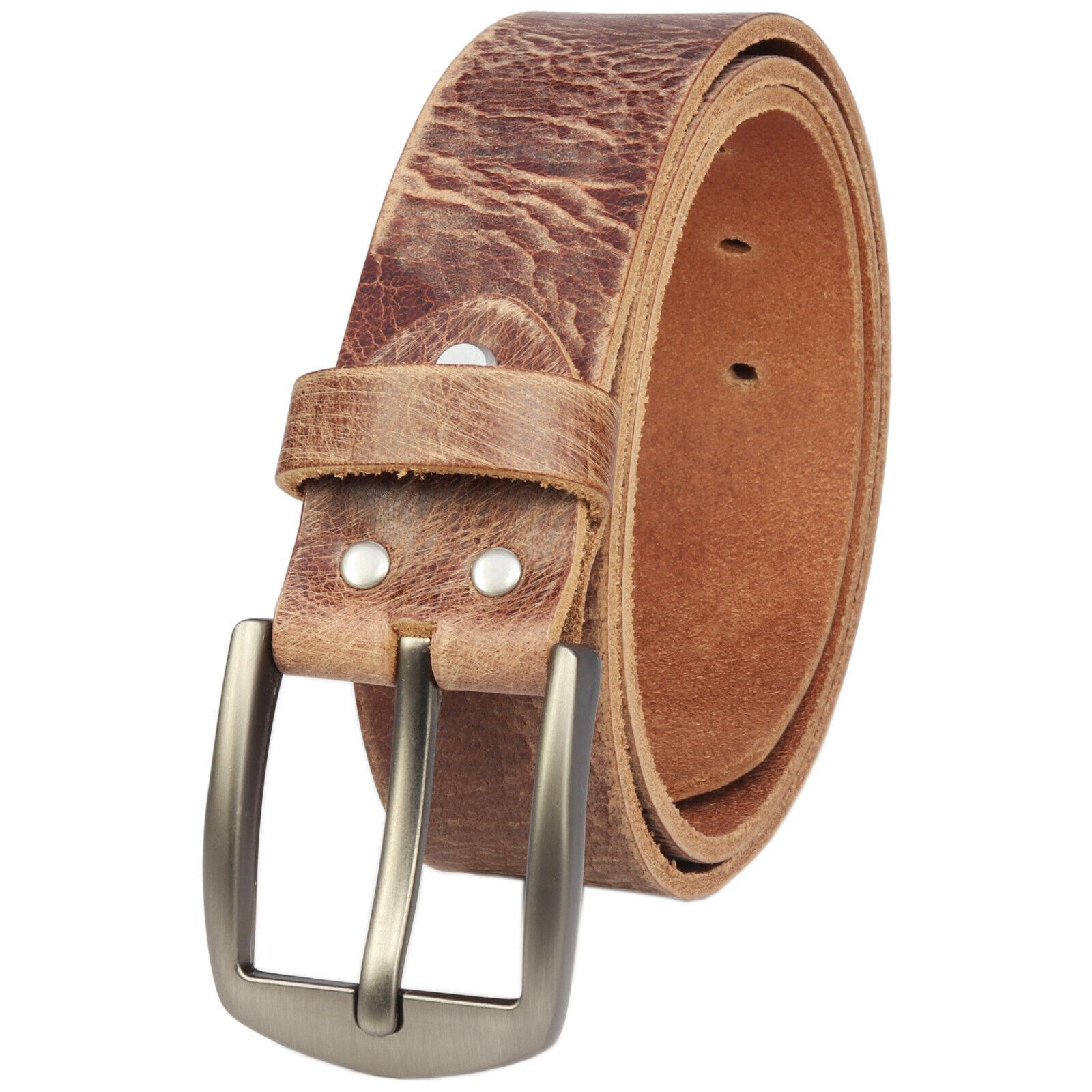 Ledergürtel 4cm echt Büffelleder Gürtel Leder Braun Herren Jeans Handgemacht NEU