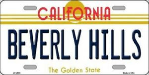 Beverly Hills California State Background Metal Novelty License Plate