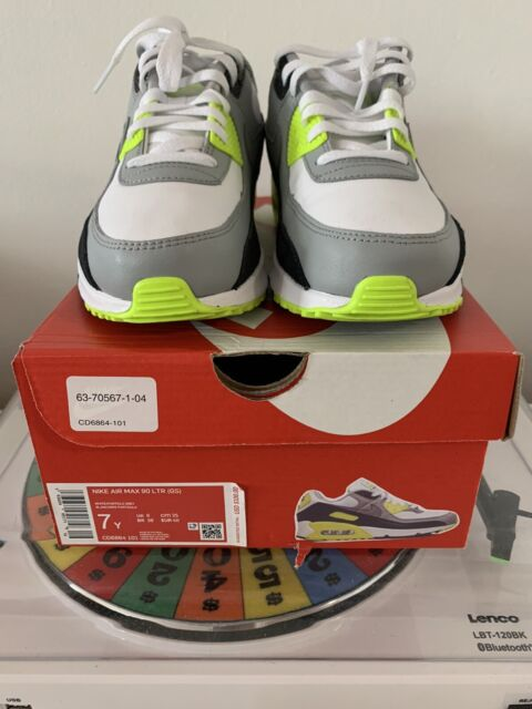 Nike Air Max 90 Ltr GS Size 7 Youth 7y Volt White Grey Black Shoe ...