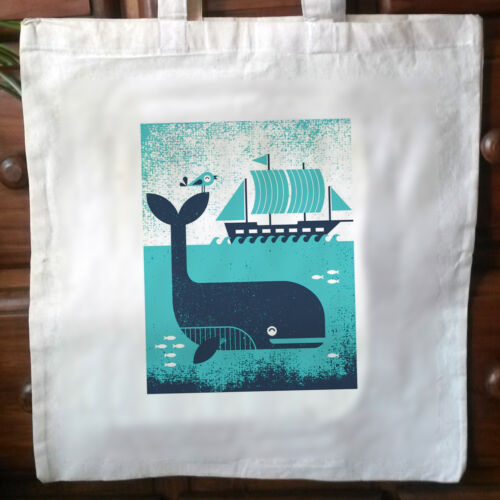 Vintage Print No.3 Eco friendly whale print cotton tote bag