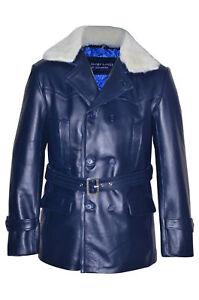 New-Kanye-Men-039-s-Classic-Designer-DRWHO-Fur-Style-Blue-Hide-Leather-Jacket-Coat