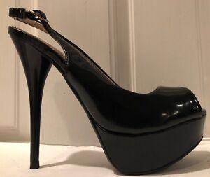 ab0c5950df5 Details about Qupid Black Open Toe Faux Patent Platform Slingback Women's  High Heels Size 5.5