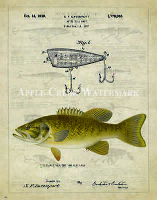 Official Fishing Lure US Patent Art Print Antique Creek Chub Weed Frog Fish 374