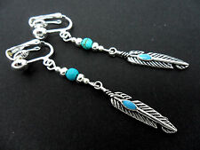A PAIR TIBETAN SILVER DROP DANGLY  FEATHER/TURQUOISE BEAD CLIP ON EARRINGS. NEW.