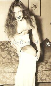 Original Vintage 1940s-50s Semi Nude RP- Long Hair- Takes Off Slip ... edd26488f