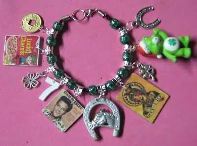 LUCKY CHARMS- Altered Art Charm Bracelet-Handmade-OOAK