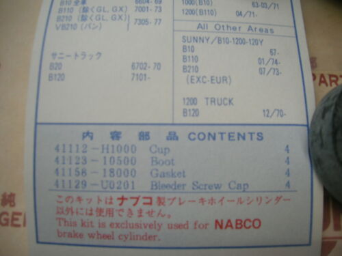 Datsun 1200 1000 Front Brake Wheel Cylinder Repair Cup Kit For NISSAN B10 B110