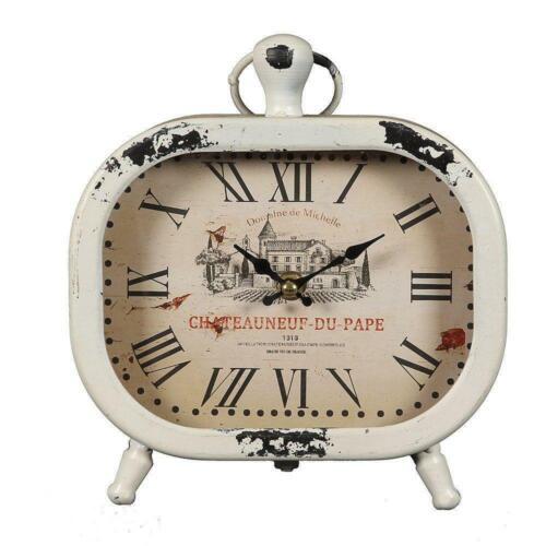 Tischuhr Chateau Du Pape Nostalgie Landhaus Uhr Kaminuhr im Metallgehäuse