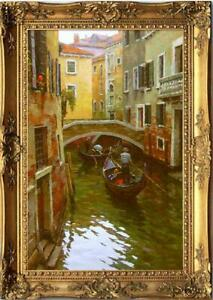 "Hand painted Oil painting original Art Landscape Venice on canvas 24""x36"""