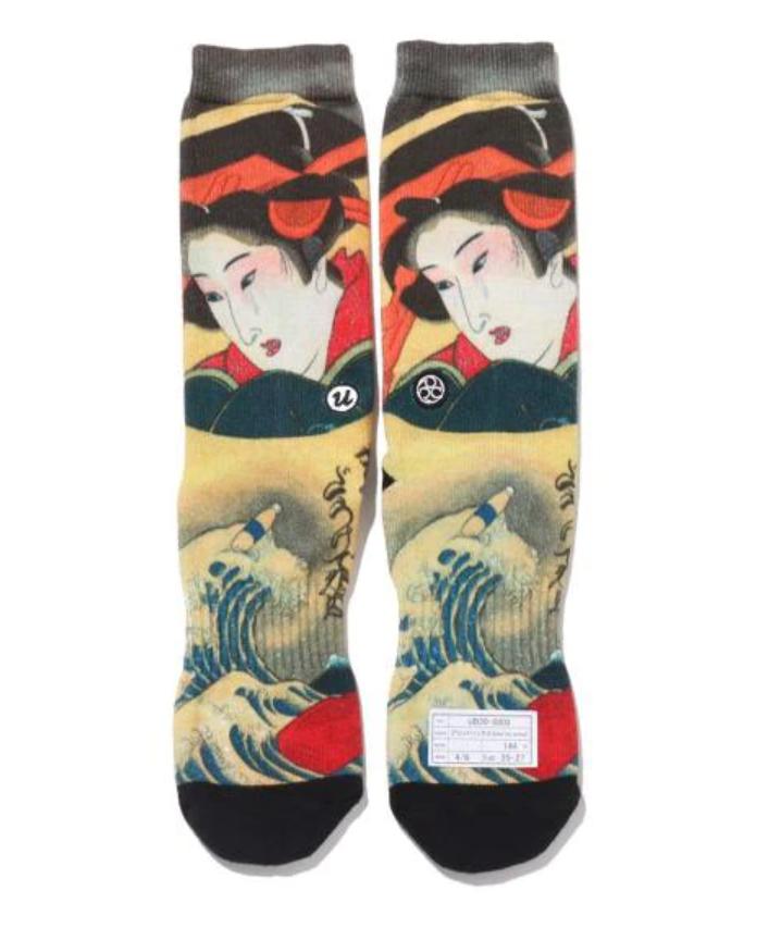 """THREE TIDES TATTOO × UBIQ IREZUMI Socks """"Umi to Onna"""" Ukiyoe Leg wear Japan"""