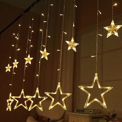 Christmas Light Curtains.138 Leds Star Fairy Lights Window Curtains Strings Christmas Party Wedding Decor Ebay