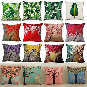 Tropical-Flower-Tree-Print-Pillowcase-Linen-Waist-Throw-Cushion-Cover-Sofa-Decor