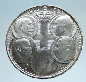 1963-GREECE-w-PAUL-GEORGE-I-amp-II-ALEXANDER-CONSTANTINE-Antique-Silver-Coin-i74966