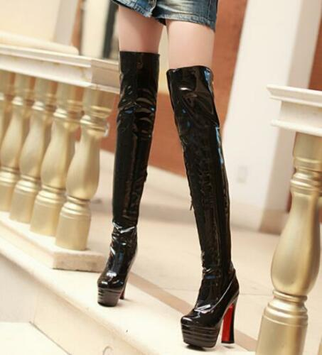 Womens Over Knee High Long Boots Patent Leather High Block Heels Shoes Shiny