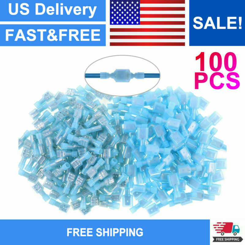 100PCS Heat Shrink Spade Crimp Terminals Insulated Wire Connectors 16-14 AWG
