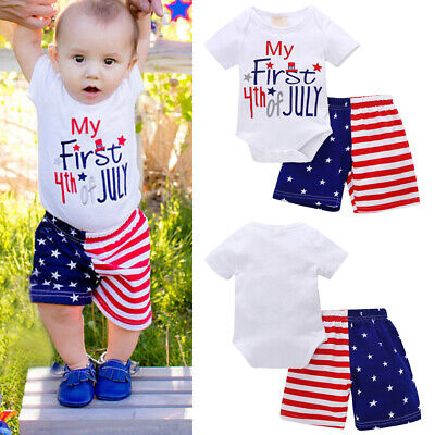 4th of July Clothes Newborn Kids Baby Girl USA Flag Romper Jumpsuit Headband Set