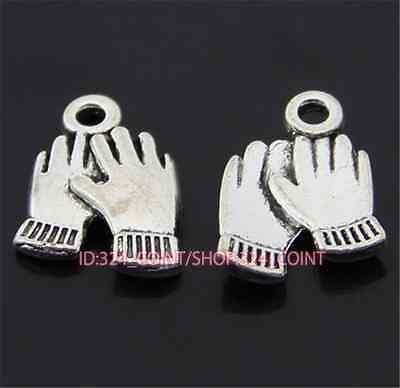 50pc Tibetan Silver gloves Charm Beads Pendant accessories wholesale P973B