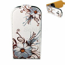 Grey Flower Leather Flip Phone Cover Case For Samsung Galaxy S3 III Mini i8190