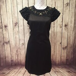 REVIEW-Dress-Size-10-Cocktail-Party-Black-Short-Ruffle-Sleeve-Embellished-Summer