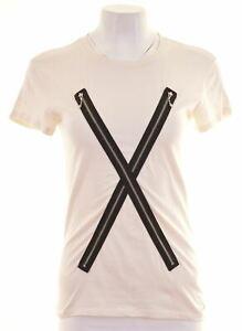 Diesel-Damen-T-Shirt-Top-Groesse-6-XS-off-white-Baumwolle-ex15