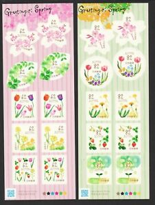 JAPAN-2018-SPRING-GREETINGS-FLOWERS-2-SOUVENIR-SHEETS-OF-10-STAMPS-EACH-MINT
