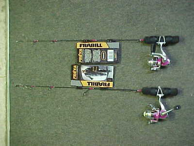 "2 NEW FRABILL LADIES FREYA 24/"" UL SPINNING ICE FISHING COMBOS PINK for rod jigs"
