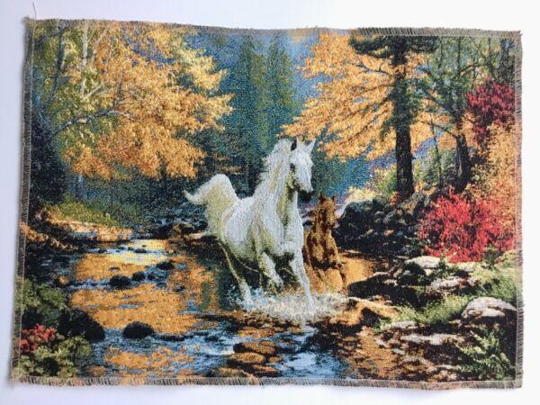 Effizient Gobelin Stoff Panel Textilbild Pferde Am Wasser Im Wald Natur Ca. 46x33 Cmneu
