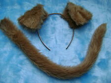Farm Animal Puppy Dog Ears & Tail Light Brown Faux Fur Instant Fancy Dress Set