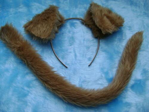 Farmyard Animal Puppy Dog Ears /& Tail Light Brown Faux Fur Instant Fancy Dress