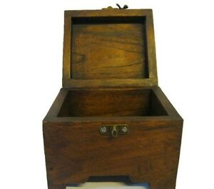 Vintage Wooden Box Handmade Teak Wood Thailand Storage Jewelry Home