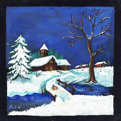 Paesaggio invernale con neve disegno originale tempera for Disegno paesaggio invernale