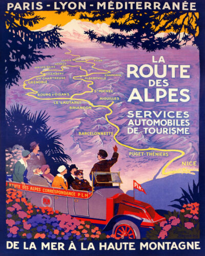 POSTER ALPS ROAD FROM SEA TO MOUNTAIN FRANCE TOURISM VINTAGE REPRO FREE S//H