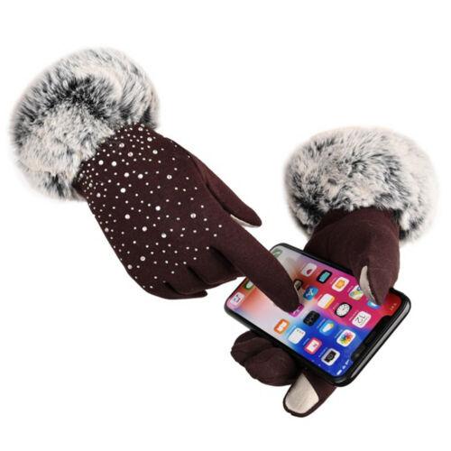 Women Shiny Rhinestone Winter Touch Screen Gloves Faux Fur Thicken Warm Mittens