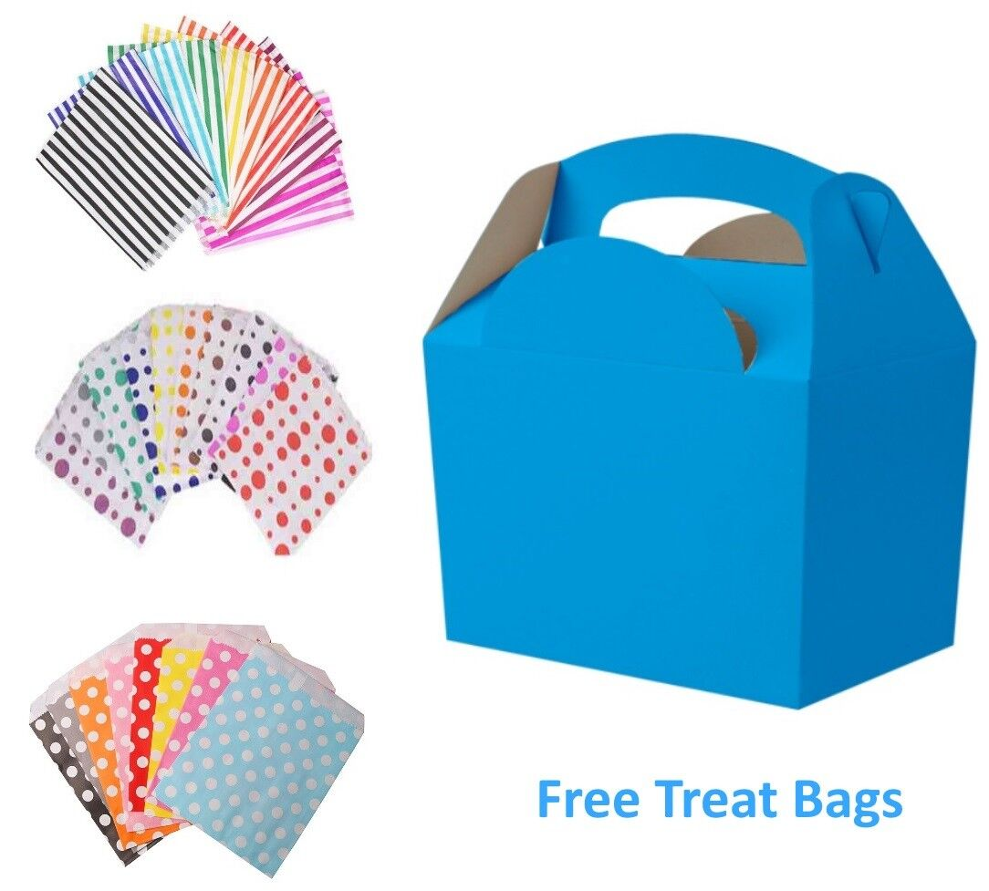 Bright Blau - Birthday Party Food Meal Lunch boxes & Free Candy Sweet Cake Bag