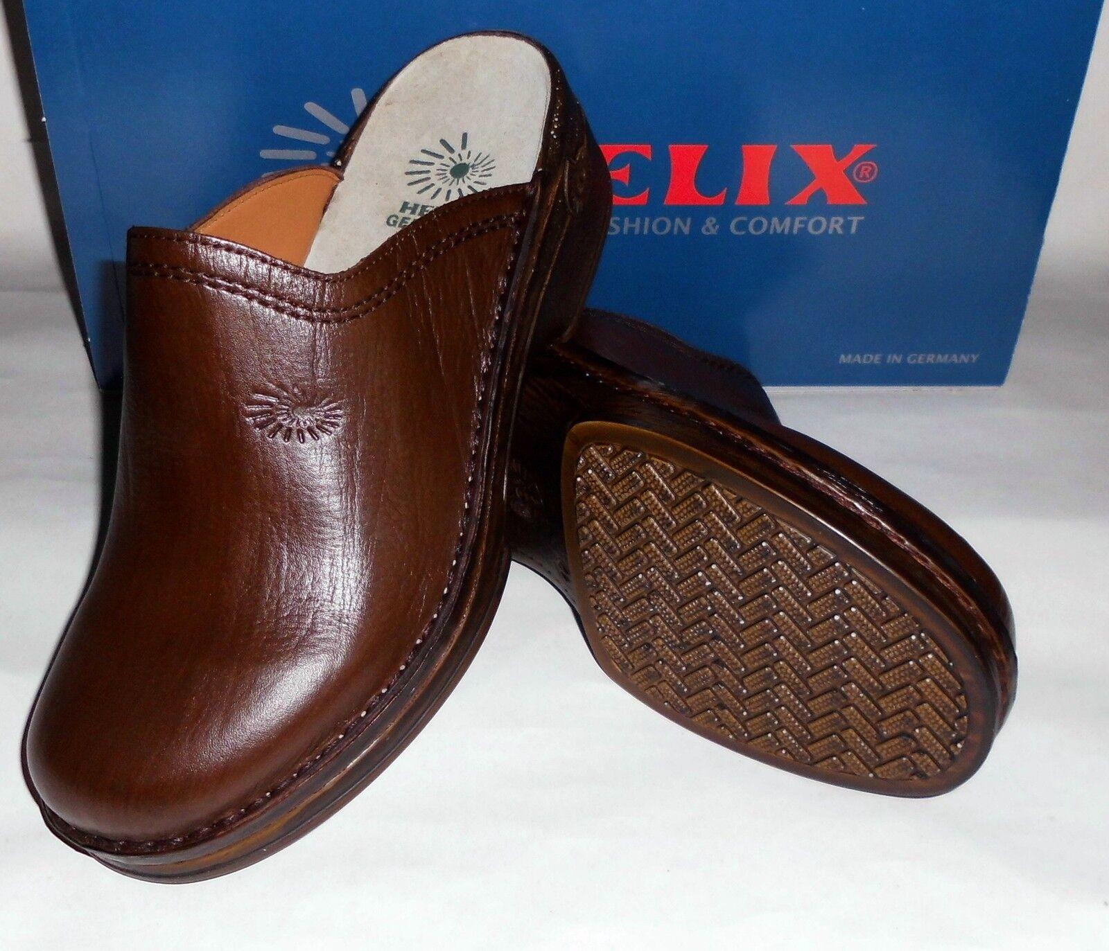 Helix Clogs Braun Burma Leder Fußbett  Markenqualität Pantoffeln neu  | Zu einem niedrigeren Preis