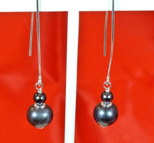 """Belle naturelle noir perles argent sterling theader Boucles d/'oreilles 2 /""""Drop 5 /& 10 mm"""