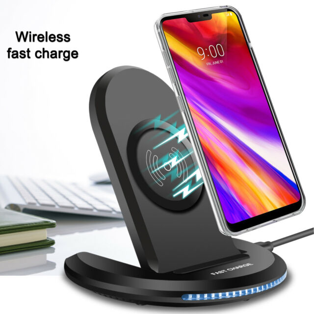 For LG G7 ThinQ G6 Galaxy S9+ Qi Wireless Fast Charger Charging Pad Stand  Dock