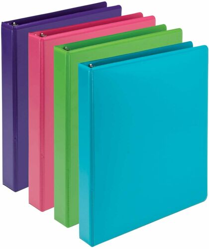 2 Pockets Details about  /1 Inch 3 Ring Binder Round Ring View Binder Tab Dividers Kit