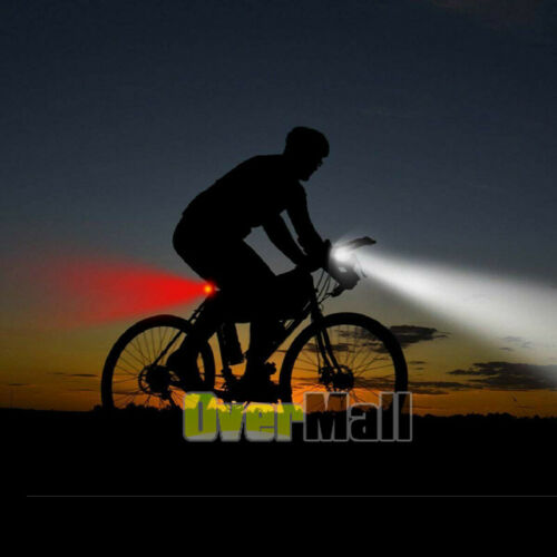 8000 Lumen Rechargeable Mountain Bike Lights Bicycle Torch Front /& Rear Lamp Set