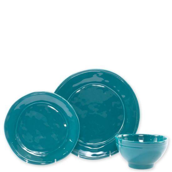 Vietri Fresh Bleu Sarcelle 3 pièces Place Setting-Lot de 4