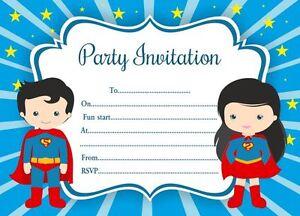 Detalles De 10 X Niños Invitaciones Fiesta De Cumpleaños O Tarjetas De Agradecimiento Superman Ver Título Original
