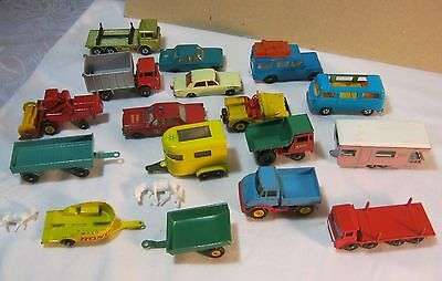 VINTAGE MATCHBOX LESNEY TOY LOT FORD GALAXIE LAND ROVER PONY TRAILER     T*