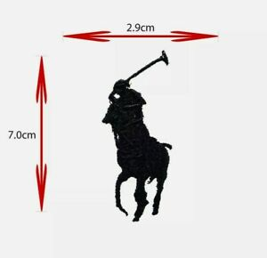 SPORTS BRAND LOGO HORSE POLO (BLACK) IRON ON/SEW ON EMBROIDERED PATCH BADGE