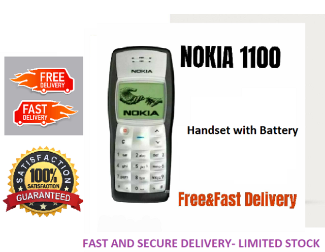 Neuer Zustand Nokia 1100-Schwarz (entsperrt) Handy UK Verkäufer mit Garantie