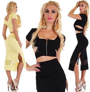 Women-039-s-2PC-Business-Dress-Skirt-amp-Crop-Top-Stretch-Leisure-Party-Dress-HOT