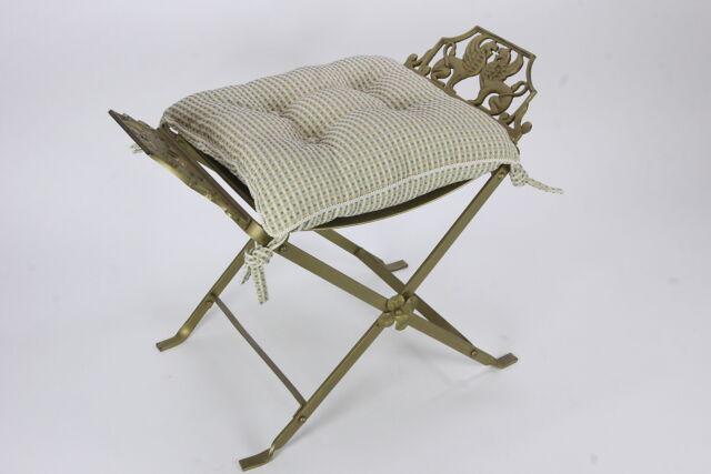 Elegant Vanity Stool Seat W/ Custom Tufted Cushion Hollywood Regency Lions