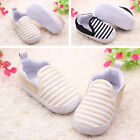Baby Kids Toddler Unisex Boys Girls Blend Soft Sole Walkers Stripe Cloth Shoes